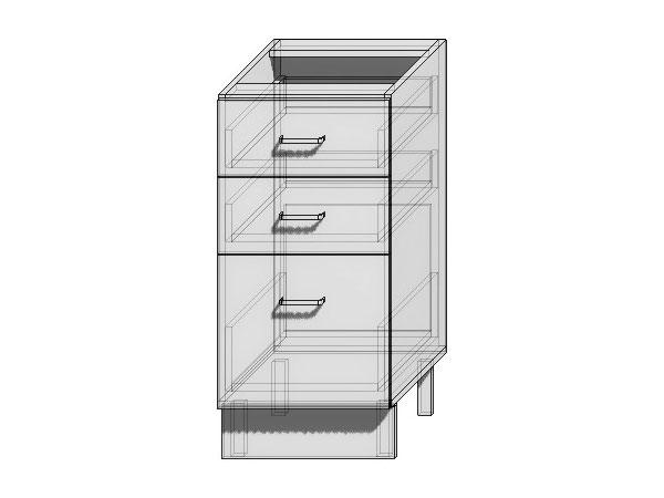 Шкаф нижний с 3-мя ящиками Loft 400