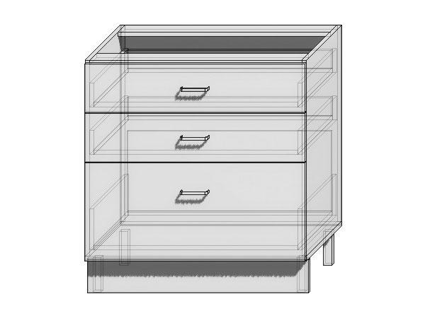 Шкаф нижний с 3-мя ящиками Валерия-М 800