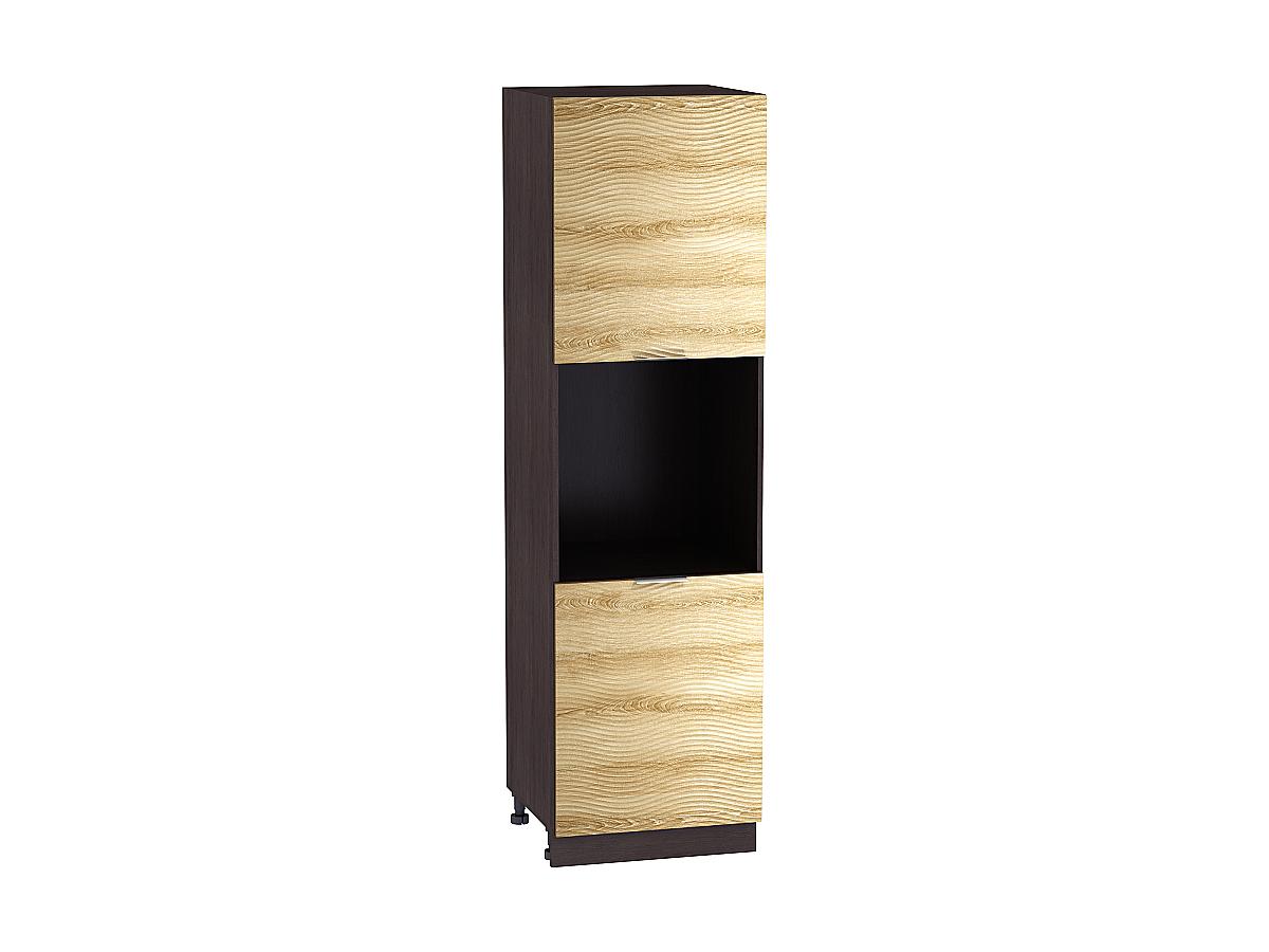 Шкаф пенал под бытовую технику с 2-мя дверцами Терра 600Н W (для верхних шкафов высотой 920) ВОЛНА