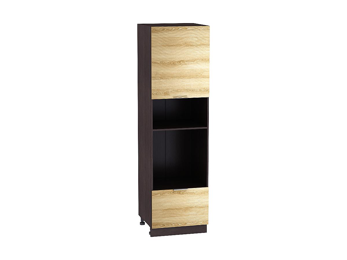 Шкаф пенал под бытовую технику с 2-мя дверцами Терра 606Н W (для верхних шкафов высотой 920) ВОЛНА