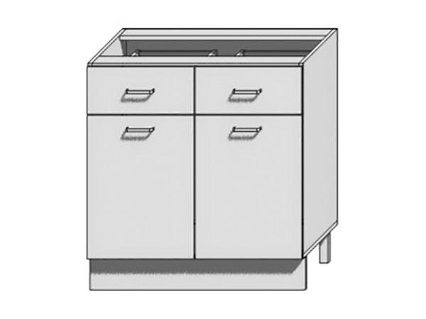 Шкаф нижний с 2-мя дверцами и 2-мя ящиками Вита 800